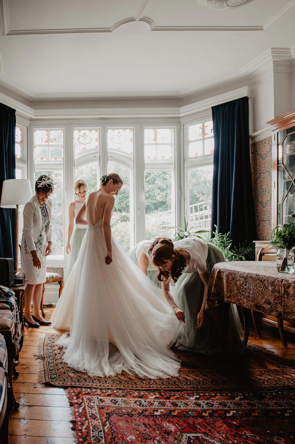 Dress Gown Bride Bridal Halterneck Tulle Skirt Green Ribbon Stour Space Wedding Anne Schwarz Photography