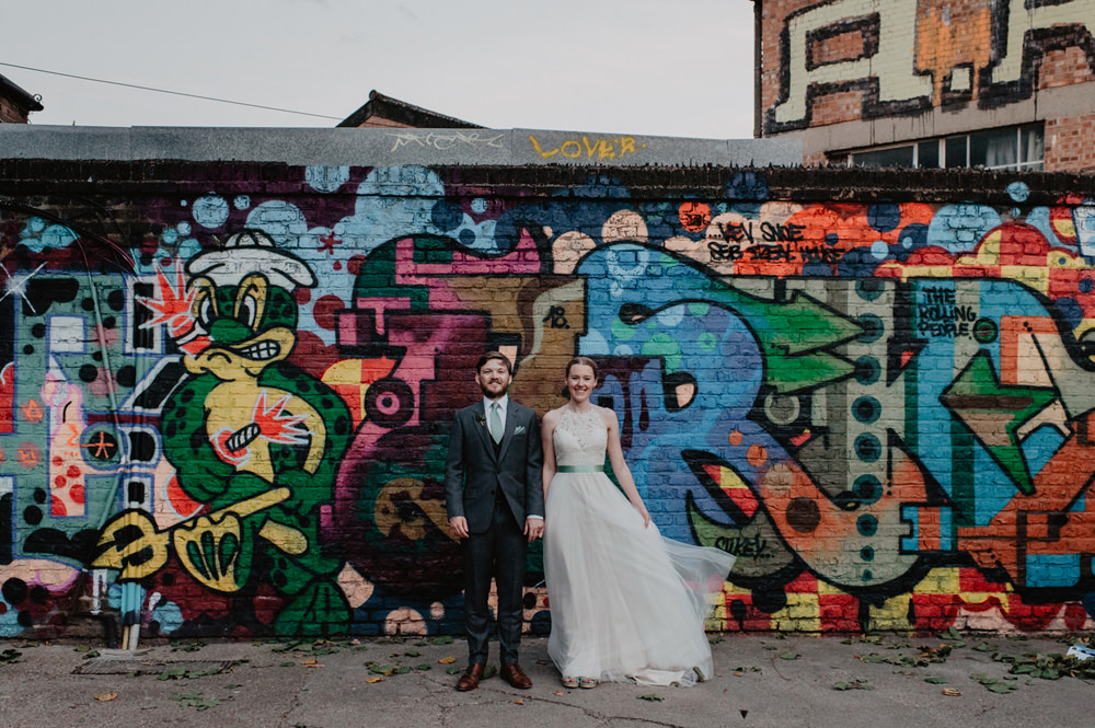 Groom Grey Suit Green Tie Stour Space Wedding Anne Schwarz Photography