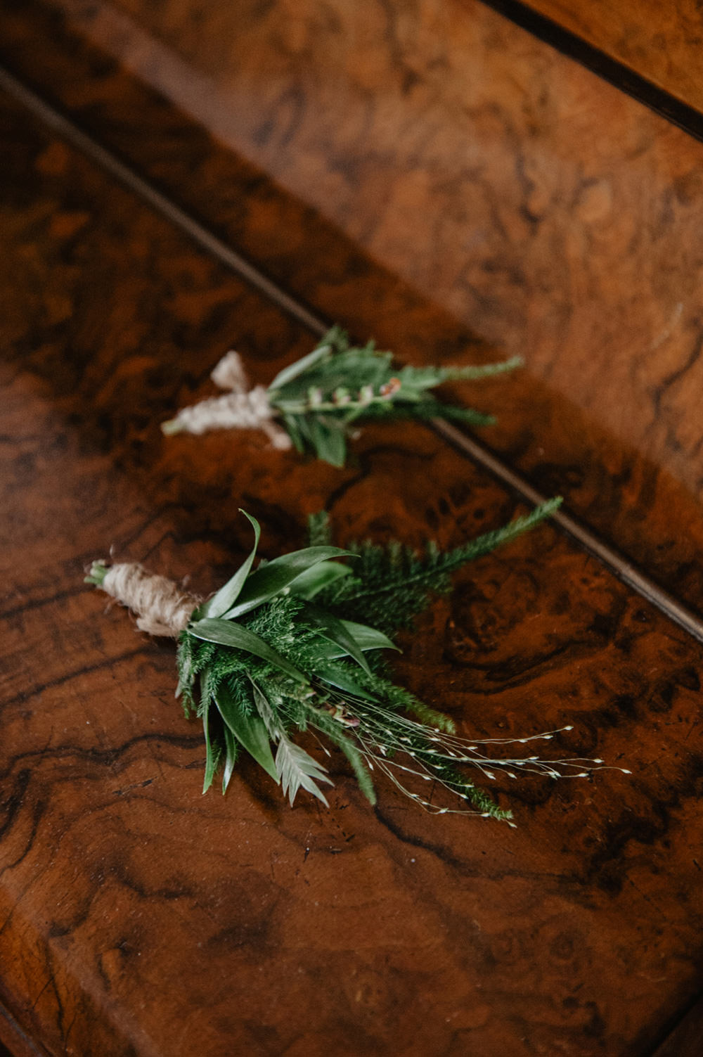 Greenery Foliage Buttonholes Twine Stour Space Wedding Anne Schwarz Photography