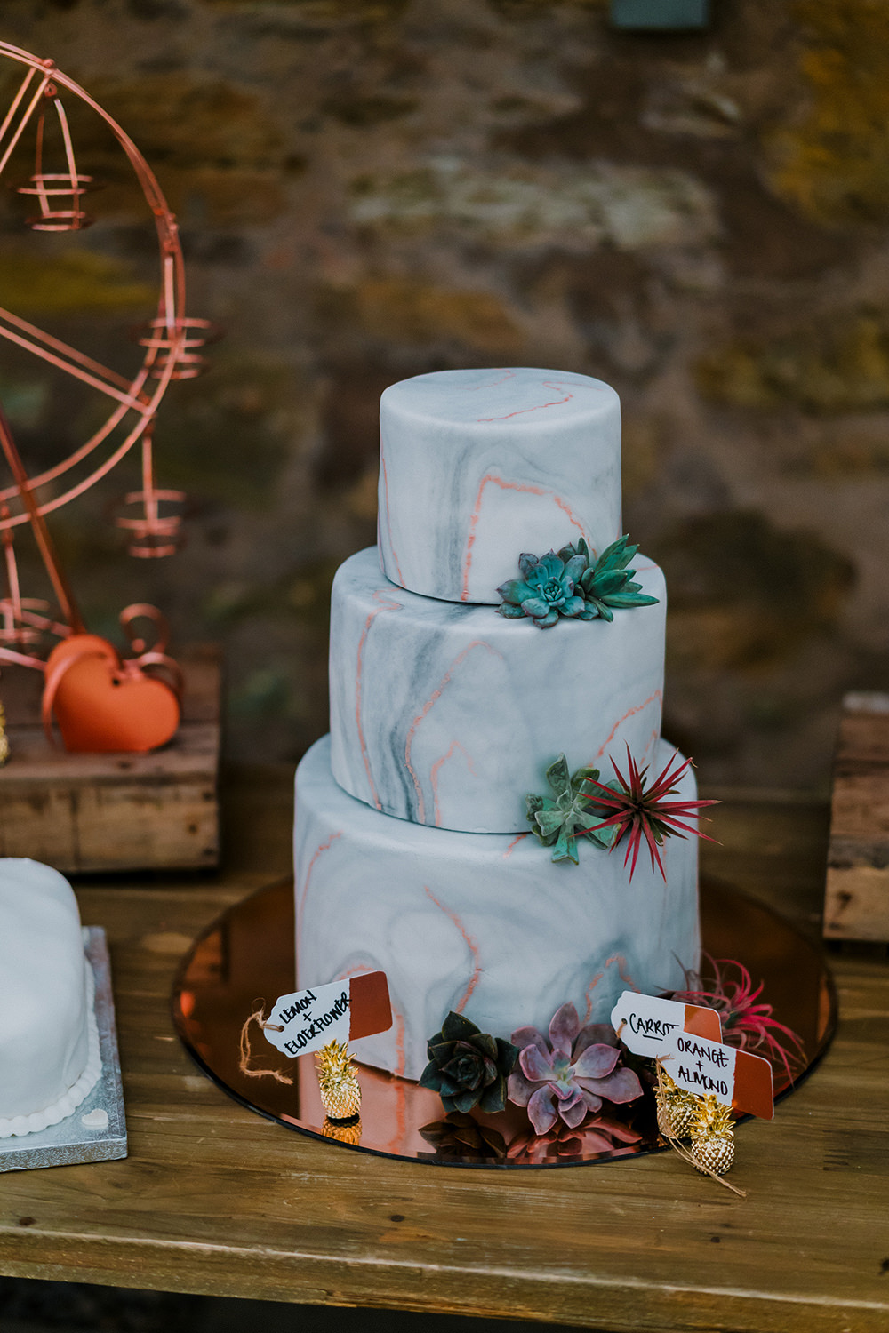 Marble Tiered Cakes Succulents Tropical Luxe Wedding Burfly Photography