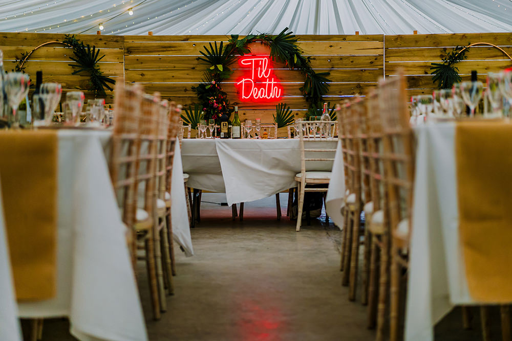 Til' Death Neon Sign Tropical Luxe Wedding Burfly Photography