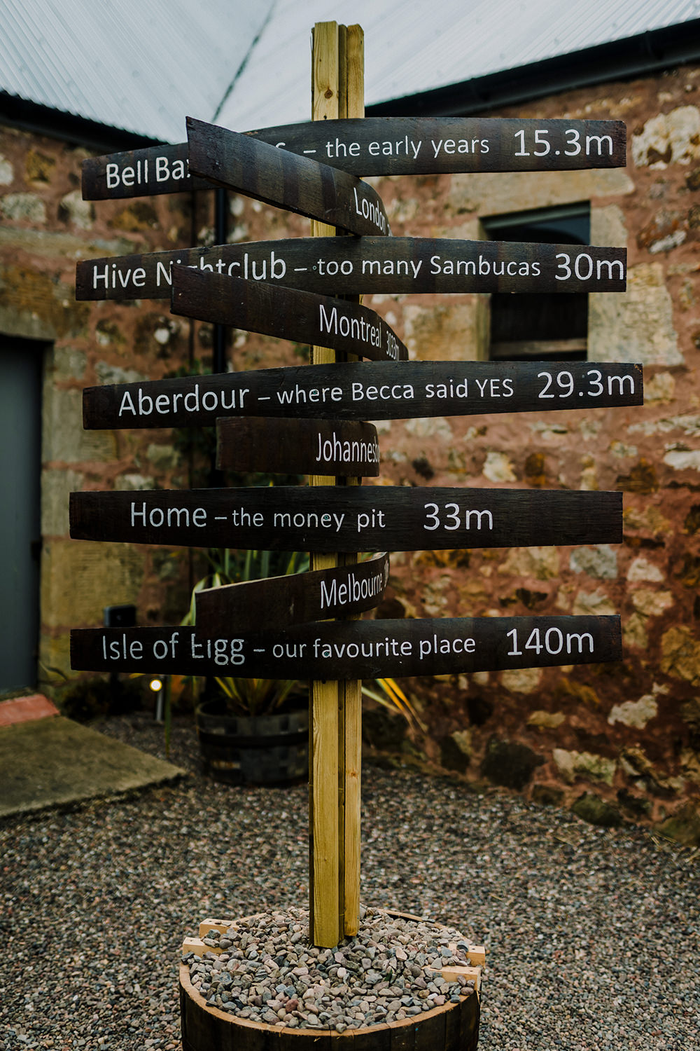 Direction Sign Post DIY Welcome Mileage Tropical Luxe Wedding Burfly Photography