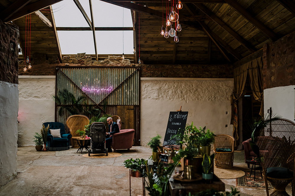 Cow Shed Scotland Neon Sign Tropical Luxe Wedding Burfly Photography