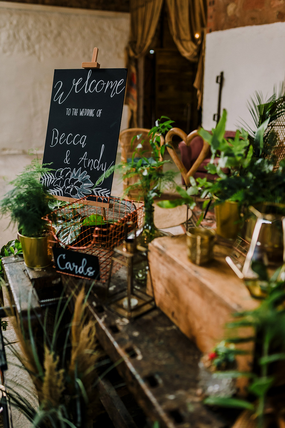Welcome Chalk Board Sign Greenery Props Cards Basket Tropical Luxe Wedding Burfly Photography