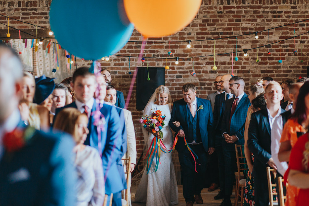 Bride Bridal Pronovias Dress Gown Boat Neck Fitted Colourful Pom Pom Bouquet Waxham Great Barn Wedding Joshua Patrick Photography