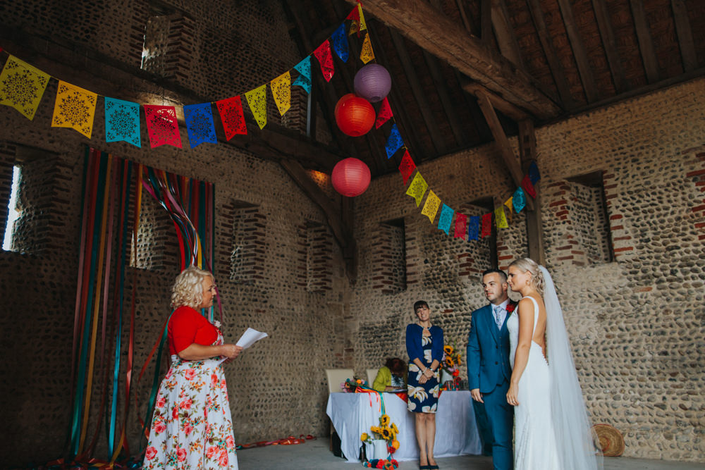 Bride Bridal Pronovias Dress Gown Boat Neck Fitted Low Back Veil Navy Suit Groom Waxham Great Barn Wedding Joshua Patrick Photography