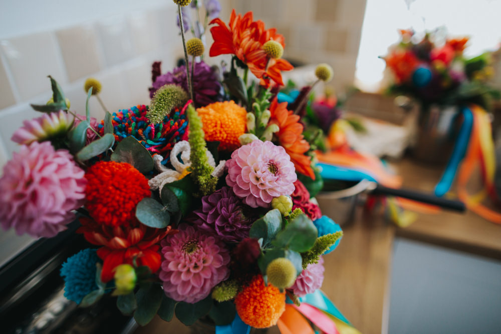 Colourful Floral Flowers Bouquet Pom Pom Ribbon Waxham Great Barn Wedding Joshua Patrick Photography