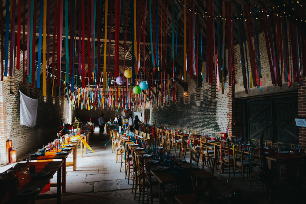 Barn Ribbon Streamers Colourful Multicoloured Decor Waxham Great Barn Wedding Joshua Patrick Photography