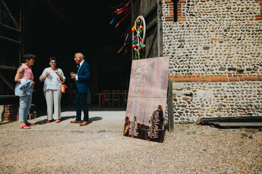 Copper Mirror Table Plan Waxham Great Barn Wedding Joshua Patrick Photography