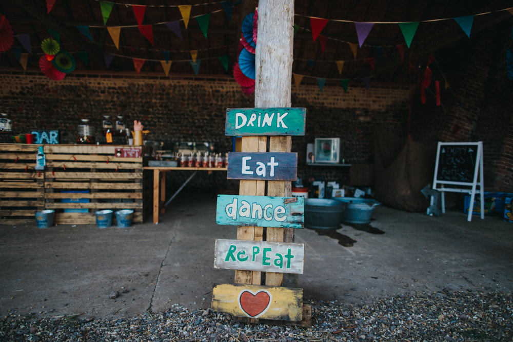 Drink Eat Dance Repeat Sign Handpainted Wooden Waxham Great Barn Wedding Joshua Patrick Photography