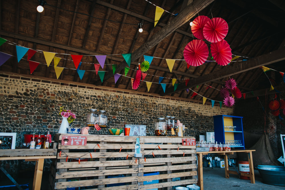 Pallet Bar Bunting Pin Wheels Colourful Multicoloured Waxham Great Barn Wedding Joshua Patrick Photography