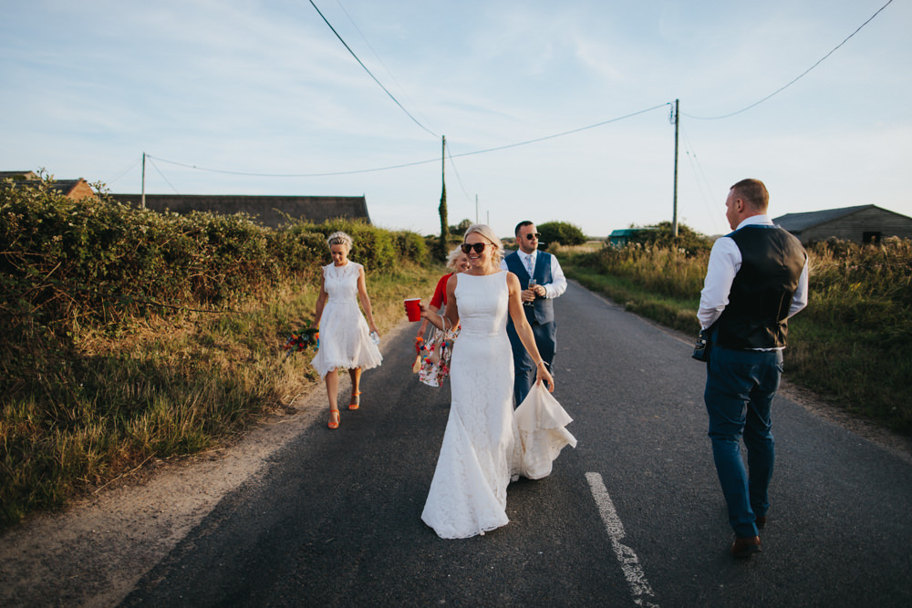 Bride Bridal Pronovias Dress Gown Boat Neck Fitted Sunglasses Waxham Great Barn Wedding Joshua Patrick Photography