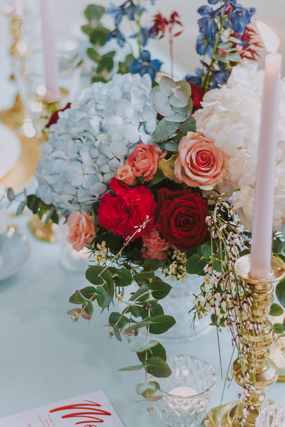 Table Flowers Centrepiece Red Pink Blue Hydrangea Rose Wes Anderson William Morris Wedding Ideas Jessica Hill Photography