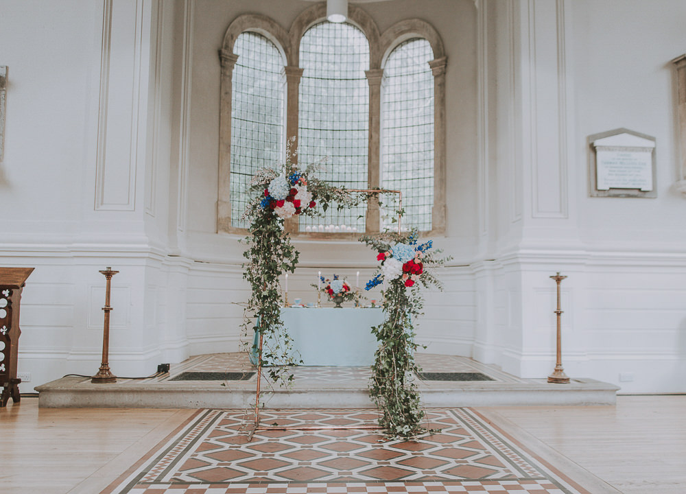 Flower Arch Backdrop Red Pink Blue Greenery Foliage Wes Anderson William Morris Wedding Ideas Jessica Hill Photography