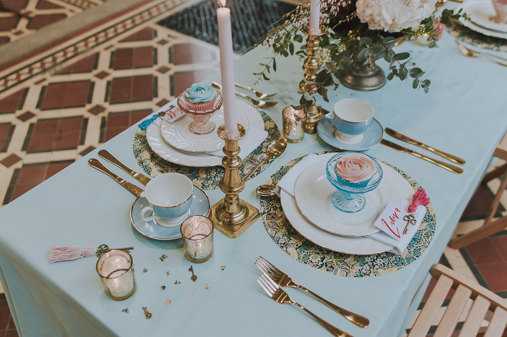 Table Tablescape Decor Decoration Blue Cloth Pink Candles Gold Flowers Wes Anderson William Morris Wedding Ideas Jessica Hill Photography