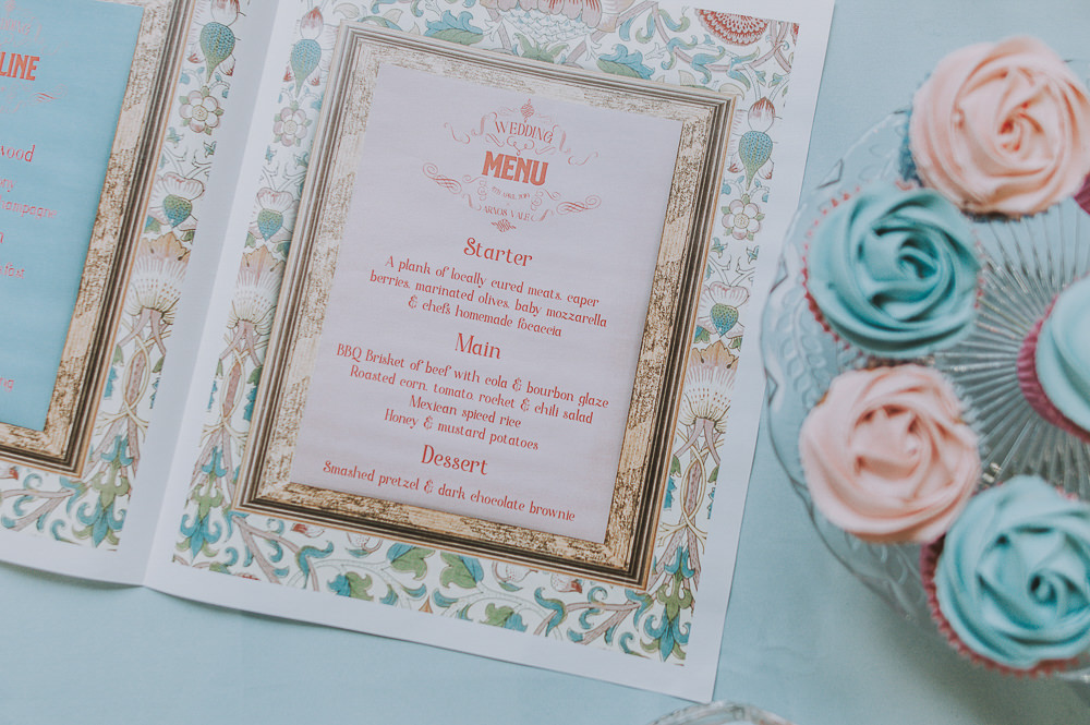 Stationery Menu Wes Anderson William Morris Wedding Ideas Jessica Hill Photography