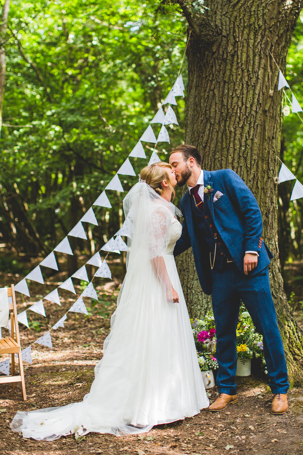 Bride Bridal Dress Gown V Neck Lace Sleeve Layered Veil Three Piece Tweed Groom Bunting Wise Wedding Venue Livvy Hukins Photography