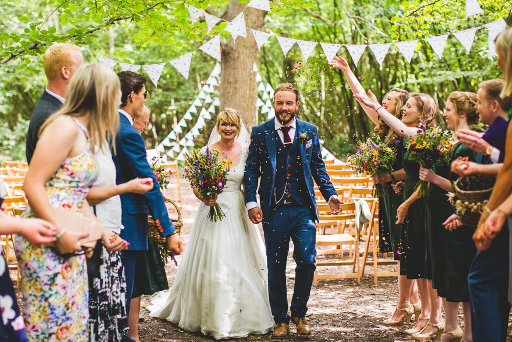 Bride Bridal Dress Gown V Neck Lace Sleeve Layered Veil Three Piece Tweed Groom Confetti Bunting Wise Wedding Venue Livvy Hukins Photography