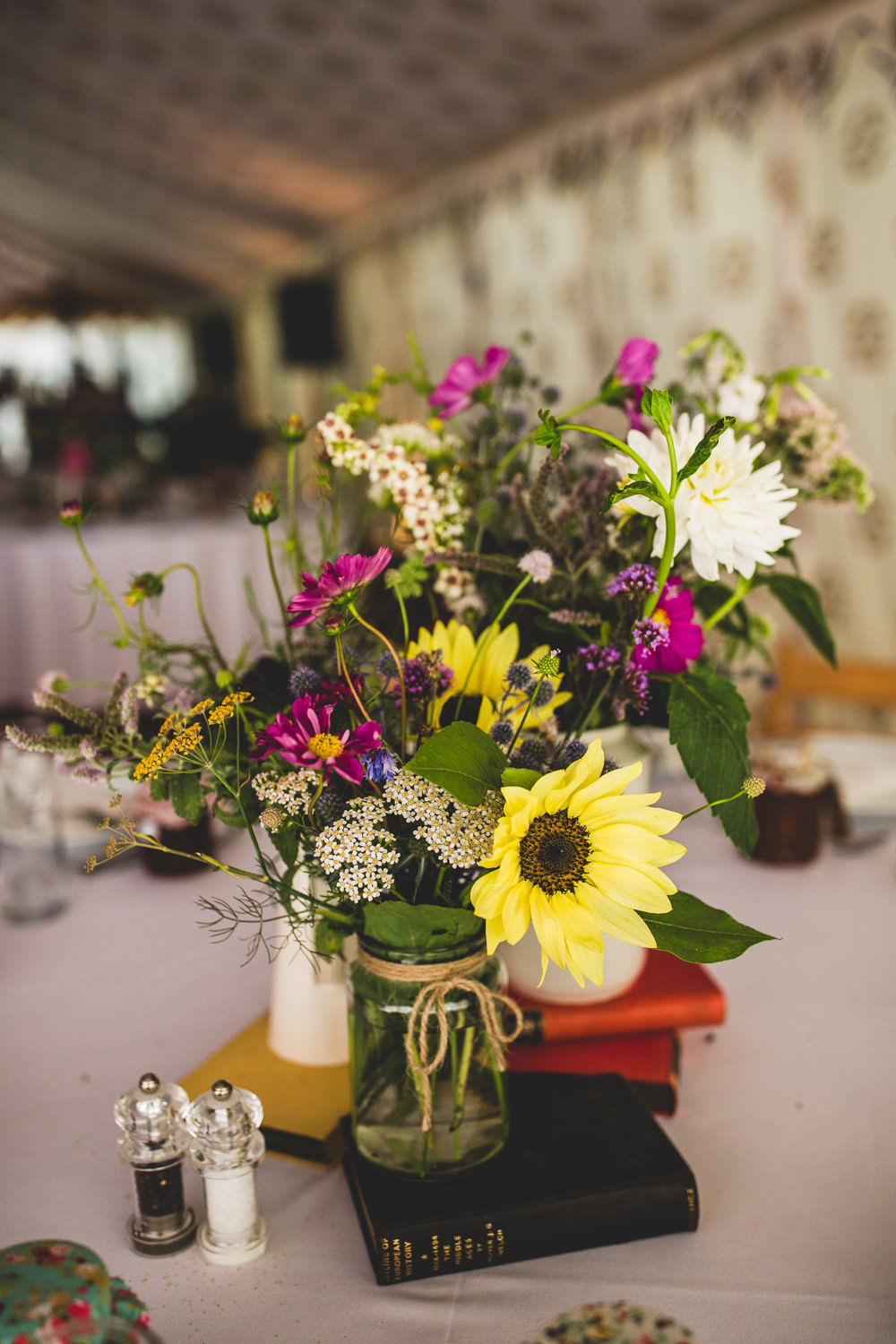 Wildflower Table Centre Books Wise Wedding Venue Livvy Hukins Photography