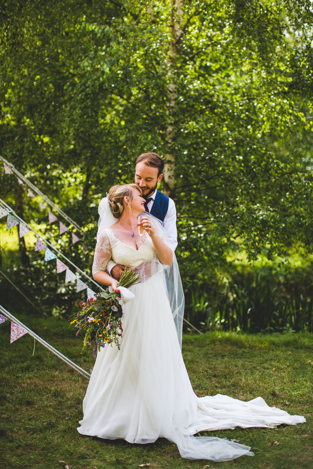 Bride Bridal Dress Gown V Neck Lace Sleeve Layered Veil Waistcoat Tweed Groom Wise Wedding Venue Livvy Hukins Photography