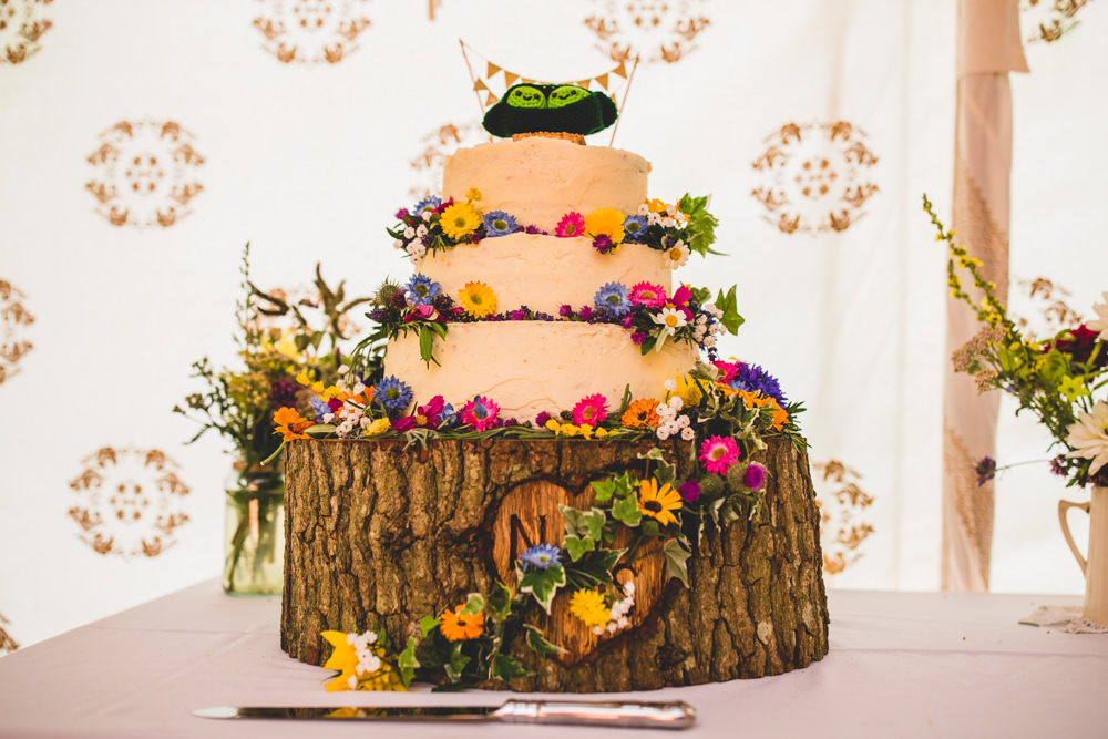 Buttercream Cake Wildflowers Wood Slice Wise Wedding Venue Livvy Hukins Photography