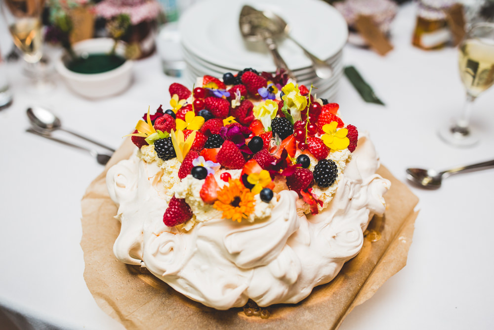 Pavlova Fruit Flowers Wise Wedding Venue Livvy Hukins Photography