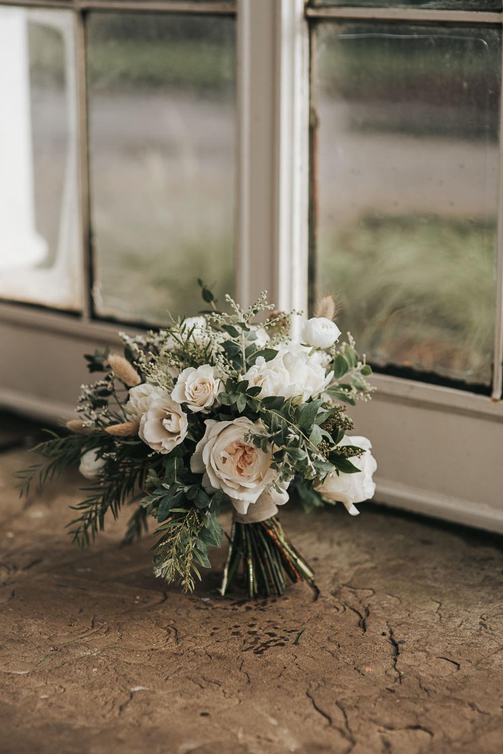 Bouquet Flowers Bride Bridal White Roses Greenery Foliage Wollaton Hall Wedding Pear and Bear Photography