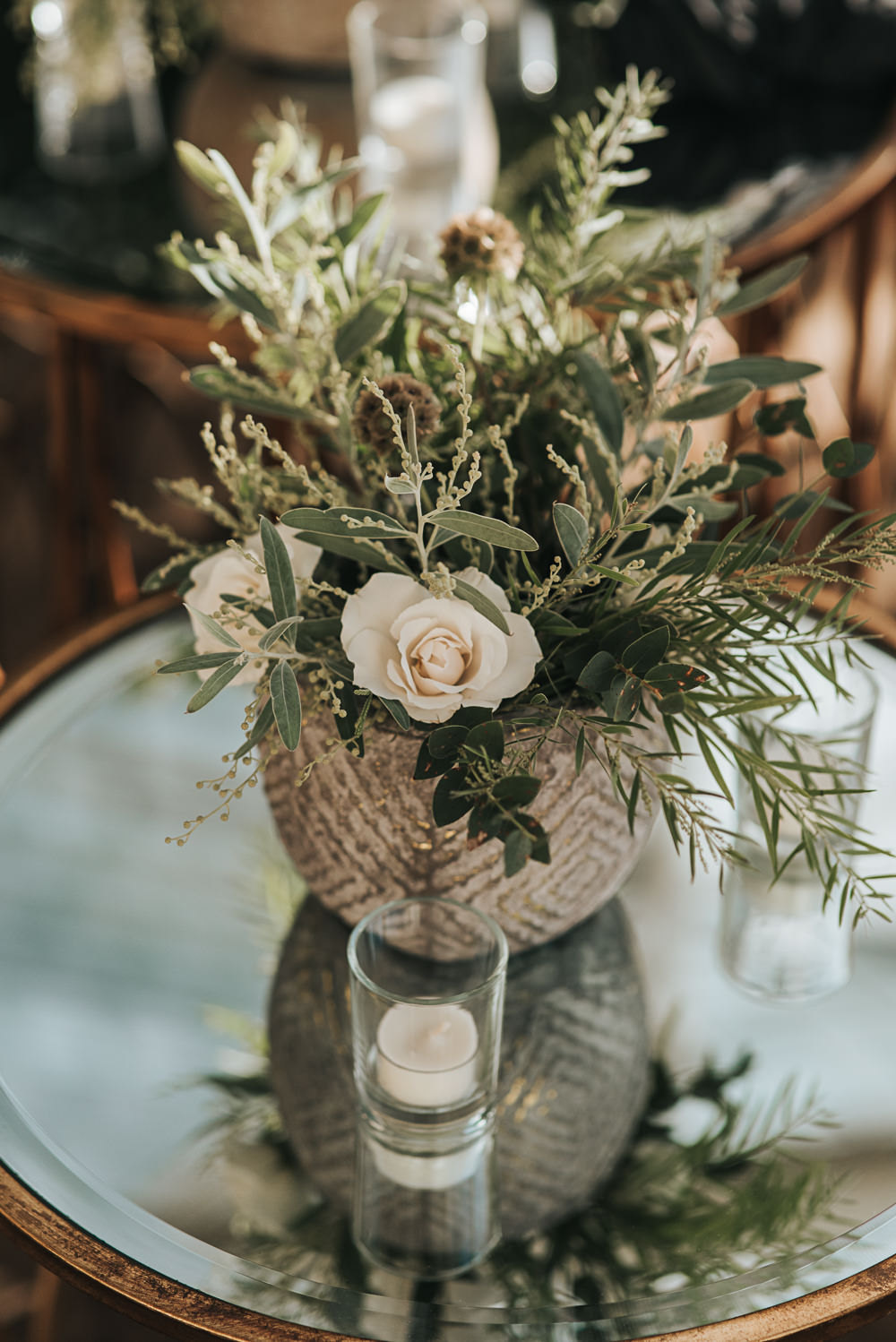 Table Flowers Rose Greenery Foliage Wollaton Hall Wedding Pear and Bear Photography