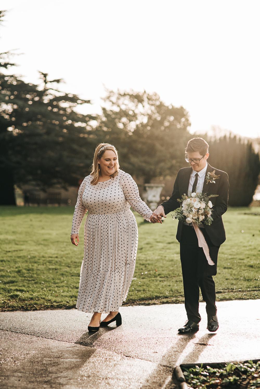 Dress Gown Bride Bridal Polka Dot Short Sleeves Wollaton Hall Wedding Pear and Bear Photography