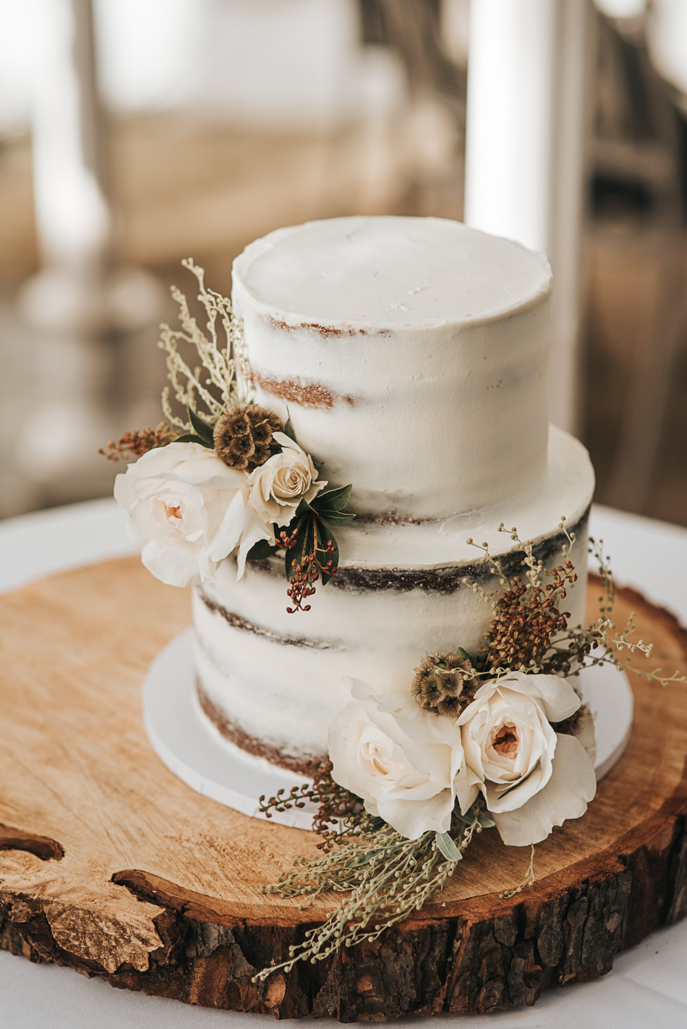 Semi Naked Cake Buttercream Flowers Log Slice Stand Wollaton Hall Wedding Pear and Bear Photography