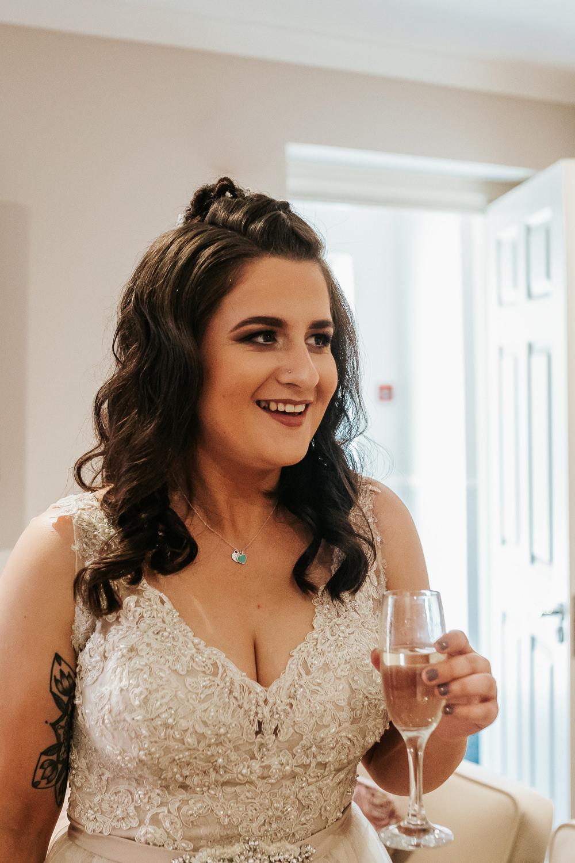 Bride Bridal Half Up Do Hair Curly Waves Aston Marina Wedding Photography By Charli