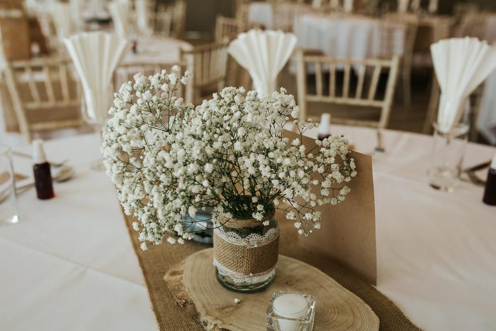 Log Slice Burlap Hessian Gypsophila Jam Jar Lace Aston Marina Wedding Photography By Charli