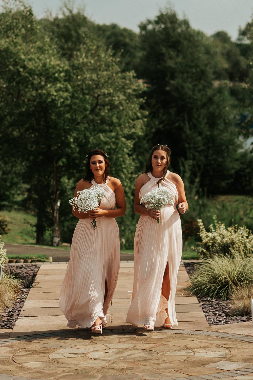 Pink Pleated Halter Neck Bridesmaids Dresses Gypsophila Bouquet Aston Marina Wedding Photography By Charli