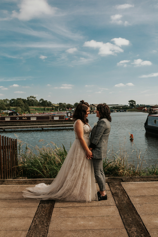 Bride Bridal V Neck Lace Dress Sleeveless Suit Gypsophila Buttonhole Aston Marina Wedding Photography By Charli