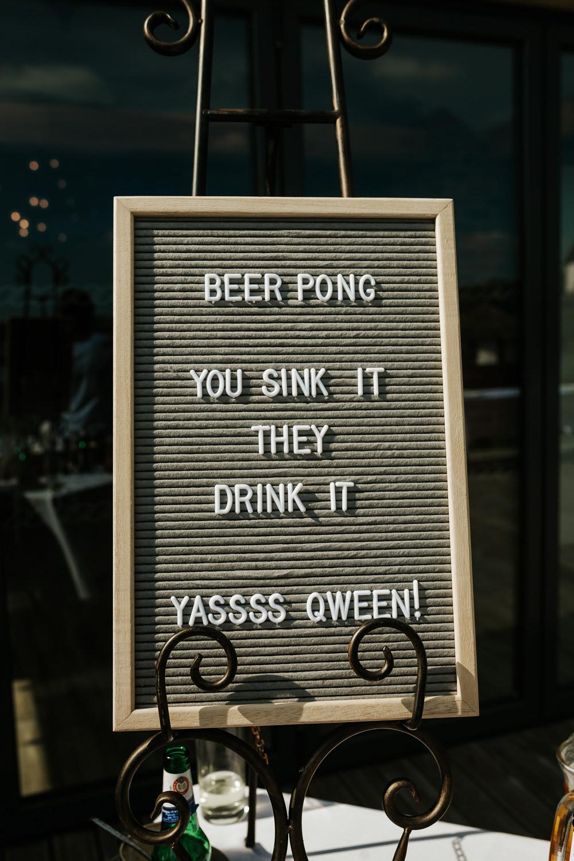 Beer Pong Sign Pin Board Aston Marina Wedding Photography By Charli