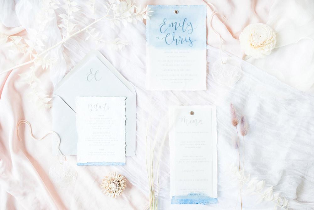Stationery Invites Invitations Watercolour Blue Boho Beach Wedding Ideas Sarah Hoyle Photography
