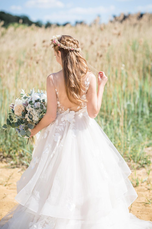 Dress Gown Bride Bridal Priness Ruffle Boho Beach Wedding Ideas Sarah Hoyle Photography