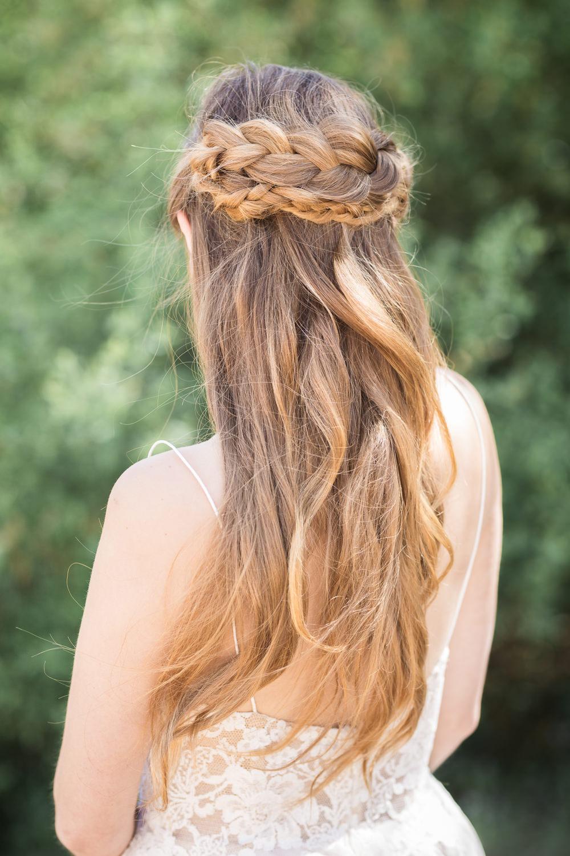 Bride Bridal Hair Plait Braid Halo Up Do Style Boho Beach Wedding Ideas Sarah Hoyle Photography