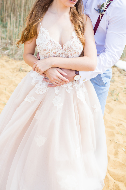 Bride Bridal Dress Gown Lace Blush Boho Beach Wedding Ideas Sarah Hoyle Photography