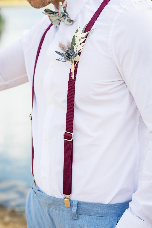 Groom Braces Buttonhole Flowers Thistle Boho Beach Wedding Ideas Sarah Hoyle Photography