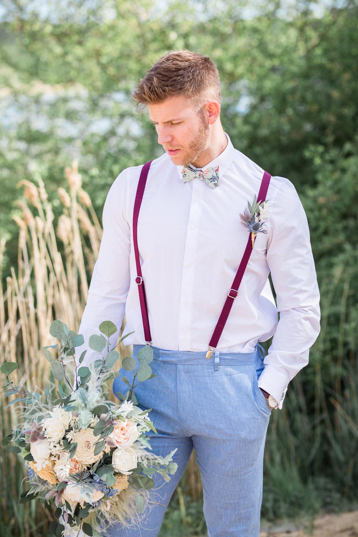 Groom Blue Trousers Braces Bow Tie Loafers Boho Beach Wedding Ideas Sarah Hoyle Photography