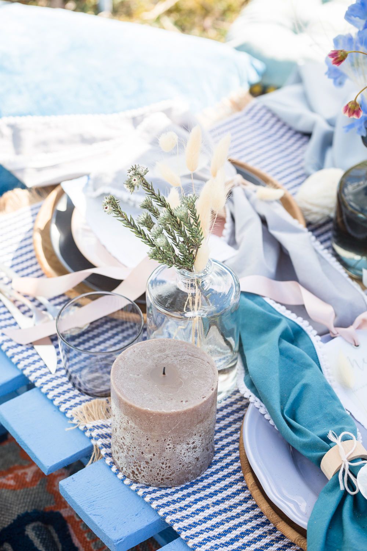 Table Tablescape Picnic Pampas Grass Candles Blue Blush Decor Decoration Boho Beach Wedding Ideas Sarah Hoyle Photography