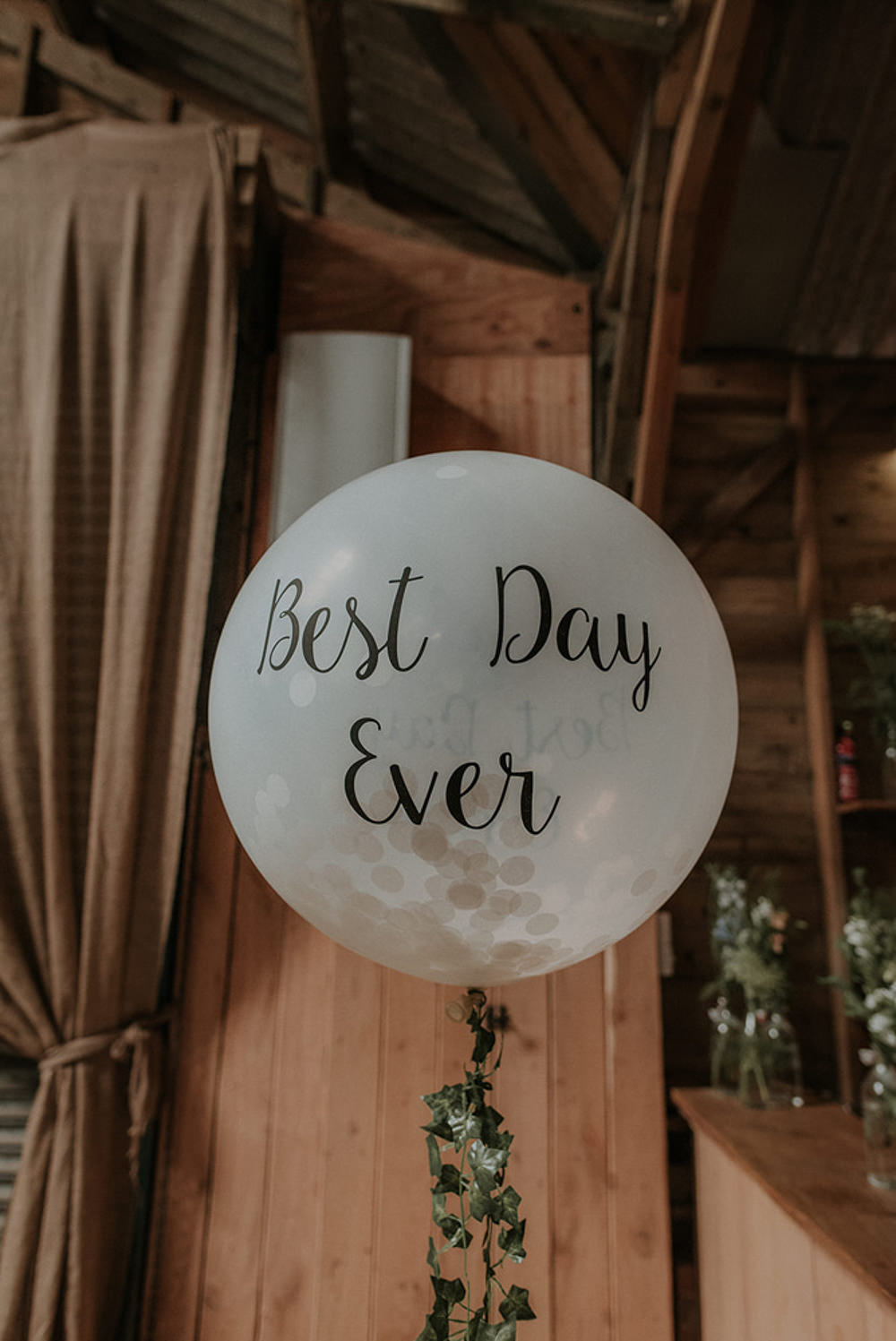 Best Day Ever Balloon Captains Wood Barn Wedding Megan Elle Photography