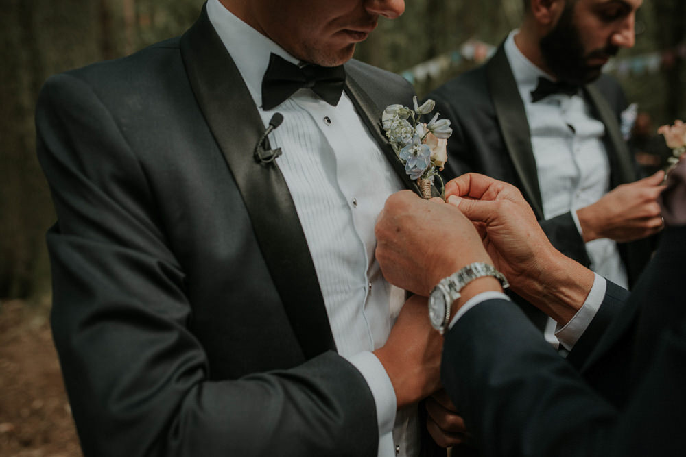 Groom Groomsmen Suit Tux Navy Black Bow Tie Buttonhole Flowers Captains Wood Barn Wedding Megan Elle Photography