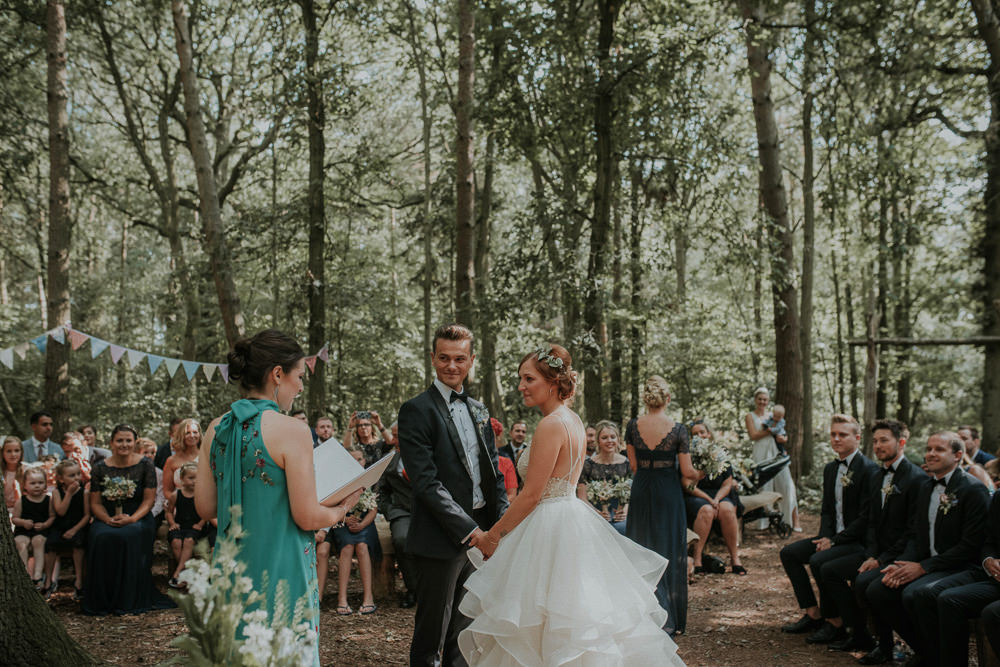 Woodland Ceremony Captains Wood Barn Wedding Megan Elle Photography