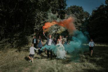Smoke Bomb Captains Wood Barn Wedding Megan Elle Photography