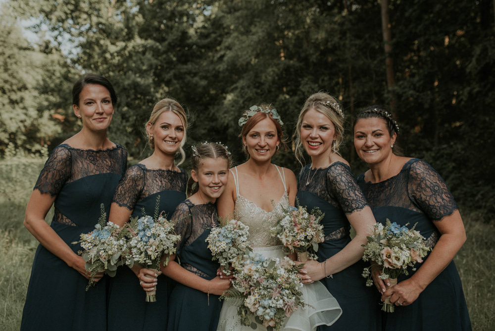 Bridesmaids Bridesmaid Dress Dresses Lace Captains Wood Barn Wedding Megan Elle Photography