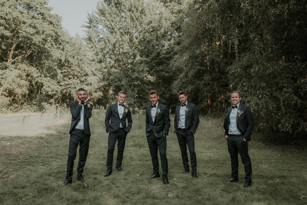 Groom Groomsmen Suit Tux Navy Black Bow Tie Captains Wood Barn Wedding Megan Elle Photography