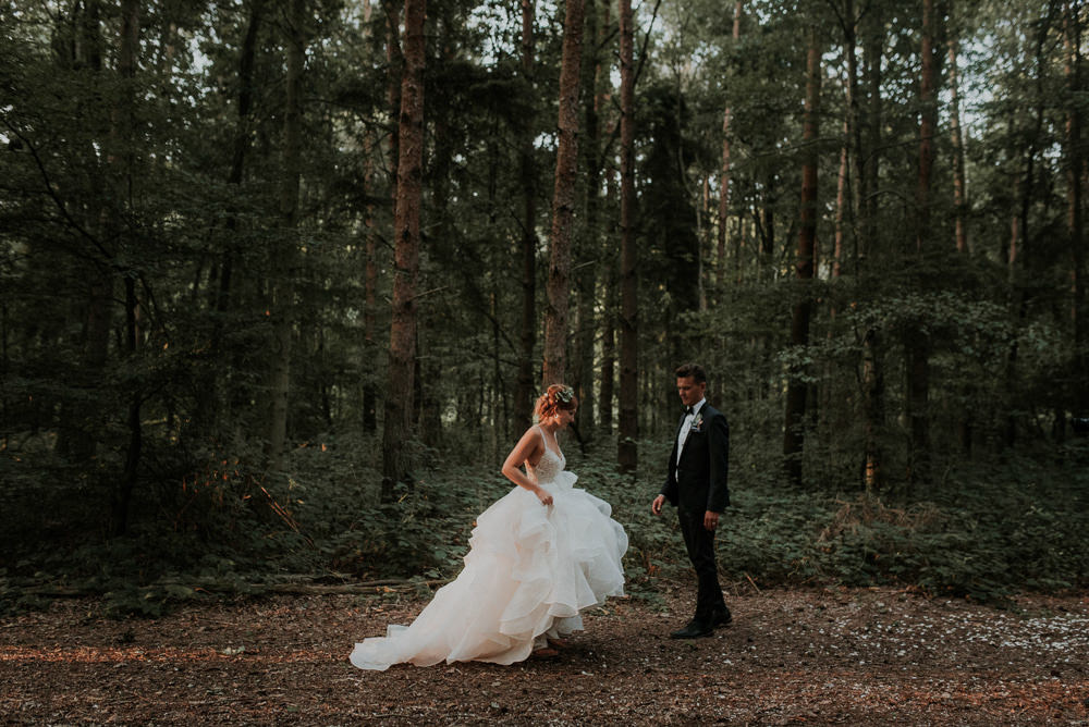 Bride Bridal Dress Gown Princess Ruffle Straps Captains Wood Barn Wedding Megan Elle Photography