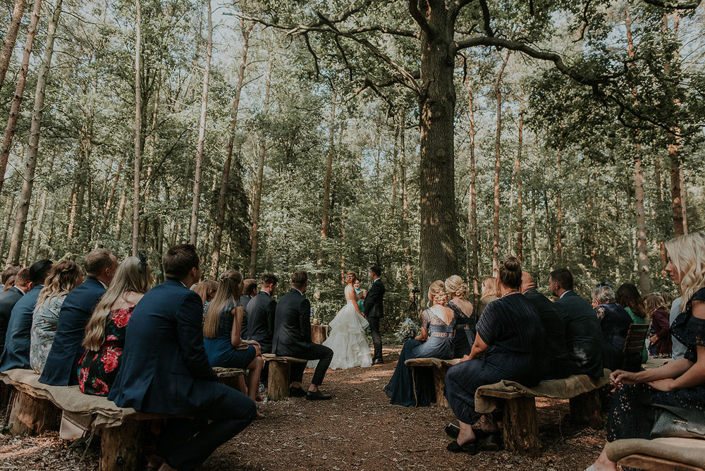 Woods Woodland Ceremony Captains Wood Barn Wedding Megan Elle Photography